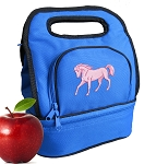 Cute Horse Lunch Bag 2 Section Blue