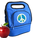 Peace Sign Lunch Bag 2 Section Blue