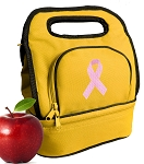 Pink Ribbon Lunch Bag 2 Section Gold