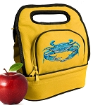 BLUE CRAB Lunch Bag 2 Section Gold