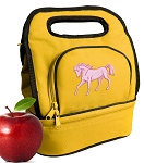 Cute Horse Lunch Bag 2 Section Gold