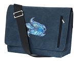 Turtle Messenger Bags STYLISH WASHED COTTON CANVAS Blue