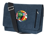Soccer Messenger Bags STYLISH WASHED COTTON CANVAS Blue