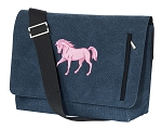 Cute Horse Messenger Bags STYLISH WASHED COTTON CANVAS Blue