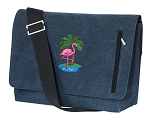 Pink Flamingo Messenger Bags STYLISH WASHED COTTON CANVAS Blue