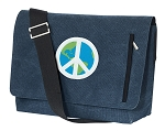 Peace Sign Messenger Bags STYLISH WASHED COTTON CANVAS Blue