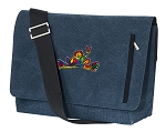 Peace Frogs Messenger Bags STYLISH WASHED COTTON CANVAS Blue