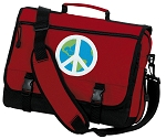 Peace Sign Messenger Bag Red