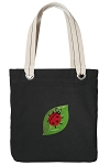 Ladybug Tote Bag RICH COTTON CANVAS Black