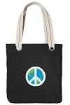 Peace Sign Tote Bag RICH COTTON CANVAS Black