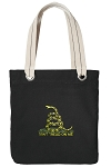Don't Tread on Me Tote Bag RICH COTTON CANVAS Black