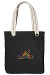 Peace Frogs Tote Bag RICH COTTON CANVAS Black