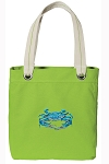 BLUE CRAB Tote Bag RICH COTTON CANVAS Green