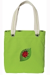Ladybug Tote Bag RICH COTTON CANVAS Green