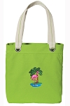 Flamingo Tote Bag RICH COTTON CANVAS Green