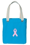 Pink Ribbon Tote Bag RICH COTTON CANVAS Turquoise