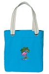 Flamingo Tote Bag RICH COTTON CANVAS Turquoise