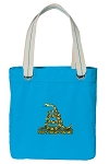 Don't Tread on Me Tote Bag RICH COTTON CANVAS Turquoise