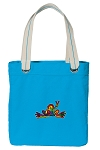 Peace Frogs Tote Bag RICH COTTON CANVAS Turquoise