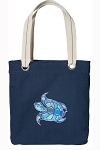 Turtle Tote Bag RICH COTTON CANVAS Navy