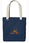 Peace Frogs Tote Bag RICH COTTON CANVAS Navy