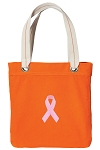Pink Ribbon Tote Bag RICH COTTON CANVAS Orange