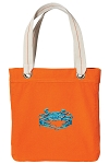 BLUE CRAB Tote Bag RICH COTTON CANVAS Orange