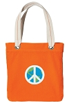 Peace Sign Tote Bag RICH COTTON CANVAS Orange
