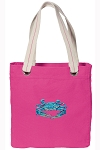 BLUE CRAB Tote Bag RICH COTTON CANVAS Pink