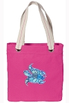 Turtle Tote Bag RICH COTTON CANVAS Pink