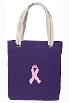 Pink Ribbon Tote Bag RICH COTTON CANVAS Purple