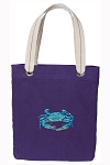 BLUE CRAB Tote Bag RICH COTTON CANVAS Purple