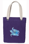 Turtle Tote Bag RICH COTTON CANVAS Purple