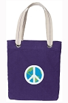 Peace Sign Tote Bag RICH COTTON CANVAS Purple