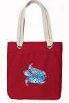 Turtle Tote Bag RICH COTTON CANVAS Red