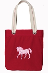 Cute Horse Tote Bag RICH COTTON CANVAS Red
