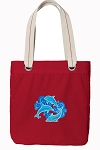 DOLPHINS Tote Bag RICH COTTON CANVAS Red