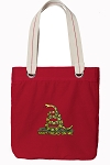 Don't Tread on Me Tote Bag RICH COTTON CANVAS Red