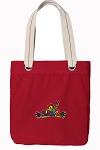 Peace Frogs Tote Bag RICH COTTON CANVAS Red