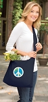 Peace Sign Tote Bag Sling Style Navy