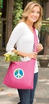 Peace Sign Tote Bag Sling Style Pink