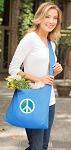 Peace Sign Tote Bag Sling Style Turquoise