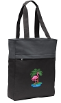Flamingo Tote Bag Everyday Carryall Black