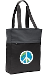 Peace Sign Tote Bag Everyday Carryall Black