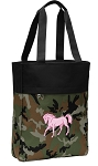 Cute Horse Tote Bag Everyday Carryall Camo