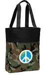Peace Sign Tote Bag Everyday Carryall Camo