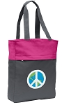 Peace Sign Tote Bag Everyday Carryall Pink