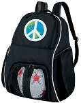 Peace Sign Ball Backpack Bag
