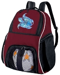 Turtle Soccer Ball Backpack Bag Maroon
