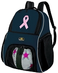 Pink Ribbon Soccer Ball Backpack or Pink Ribbon Volleyball Practice Gear Bag Navy